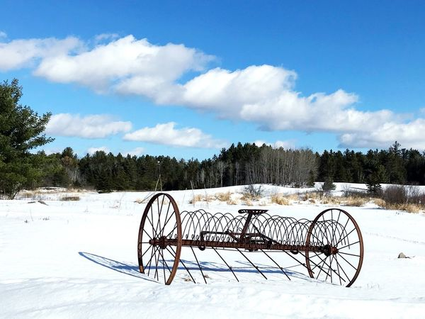 Northern Ontario Blue Sky And White Clouds Antique Farm Machinery Antique Farm Equipment Farm Snow Cold Temperature Winter Sky Cloud - Sky Outdoors