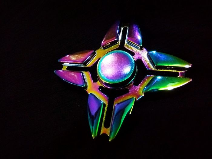Rainbow Spinner Fidget Spinners Black Background No People Studio Shot Arts Culture And Entertainment Night Illuminated Close-up EyeEmNewHere EyeEm Selects