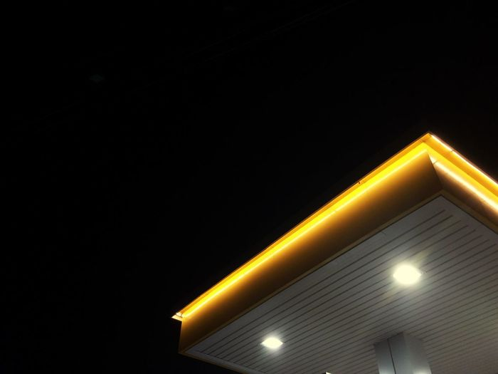 Seaoil Illuminated Low Angle View Architecture Night Vision Night Ceiling Yellow Night Time Eyeem Philippines 2017 Eyeem Awards EyeEm Vision EyeEm Selects ColorLife Art On Everything Neon Life Paint The Town Yellow