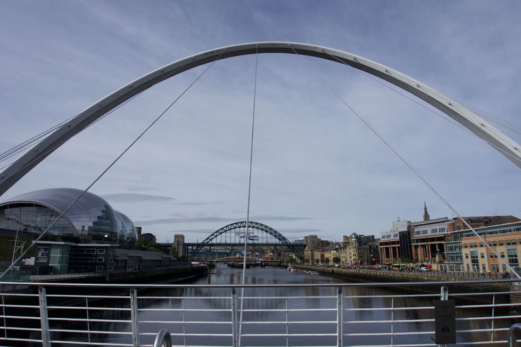View across river tyne of buildings and bridges, in gateshead