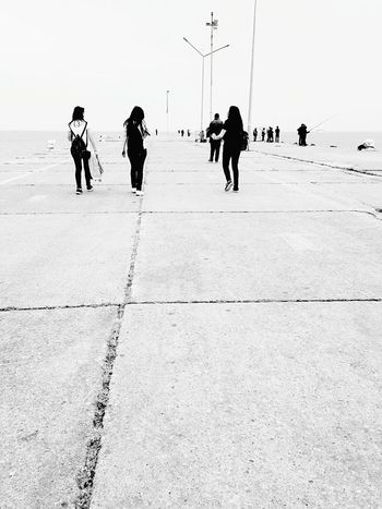 Pier Street Photography Blackandwhite Photography Taking Photos Black & White Sea Walking Pier Walking People