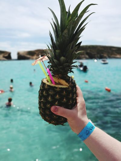 Human Body Part Human Hand Holding Fruit Cocktails Coconut Pineapple Travel Destinations Nature Water Close-up Piñacolada PinaColadas Sunny Bluewaters Crystal Clear Crystal Clear Waters Sea_collection Seascape Photography Bluelagoon Vacations Backgrounds Outdoors Full Frame High Angle View 100 Days Of Summer