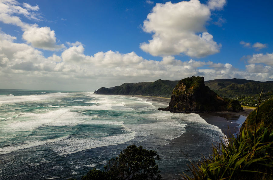 piha beach - lions rock beach Nature Lost in the Landscape Landscape Landscape_photography Wide Angle Summer EyeEm Nature Lover Beach Nature EyeEm Nature Lover New Zealand New Zealand Beauty Outdoors No People Sand & Sea Piha Beach Lions Rock Lion Lamdscape Wave Sand Power In Nature Rock - Object Dramatic Sky Sky Horizon Over Water Rocky Coastline Rock Formation Cliff Surf Coast Rock