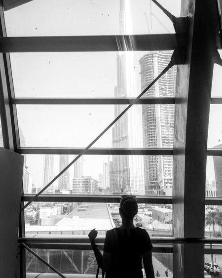 sihouette Silhouette Architecture Blackandwhite Burj Khalifa Lifestyles Shadow Window Women