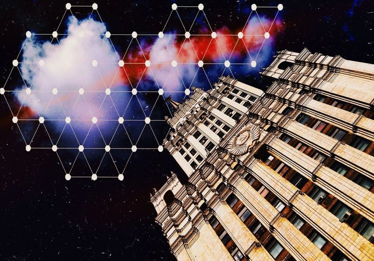 Digital Composite Image Of Building And Stars