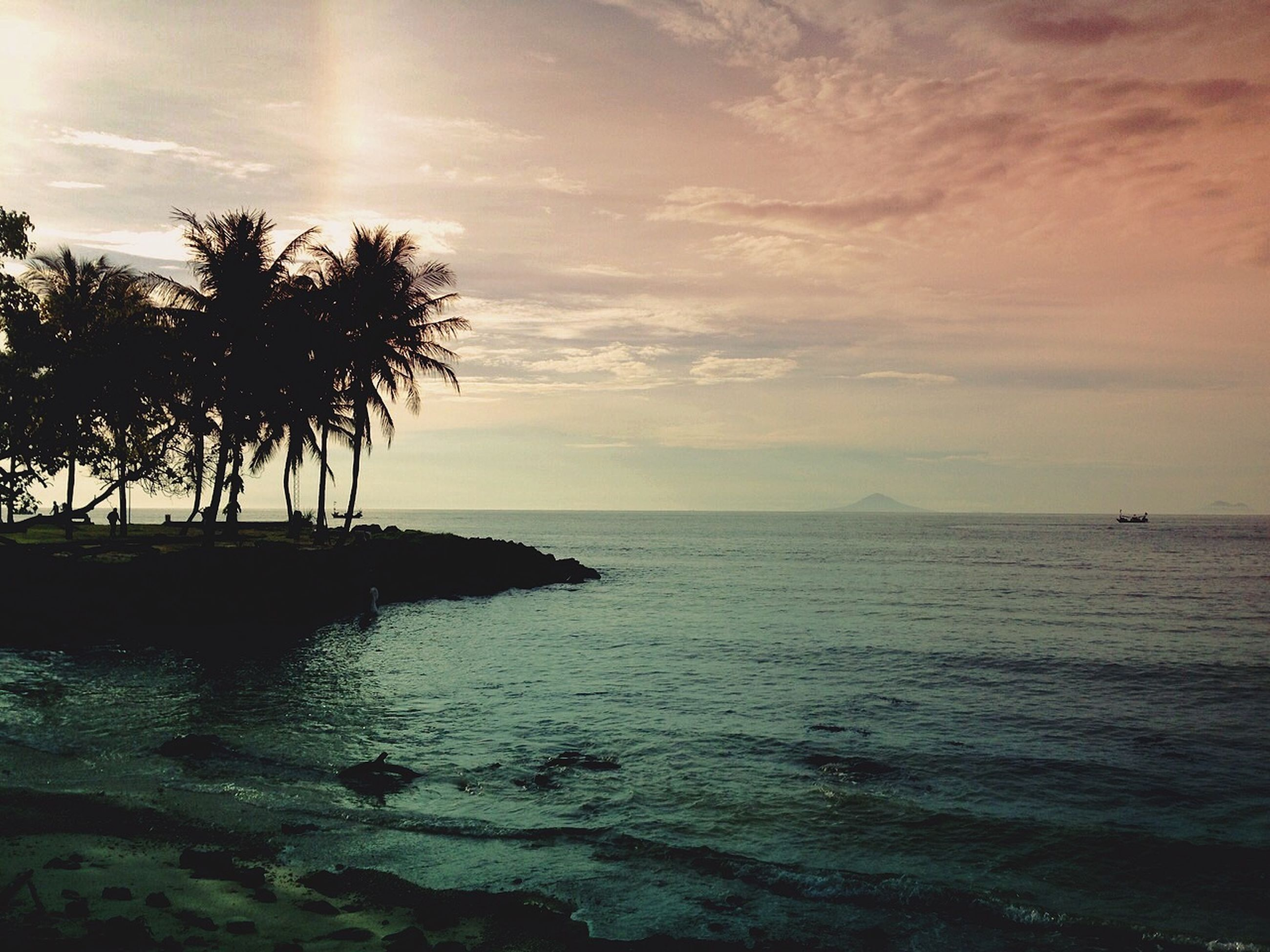 sea, horizon over water, water, sky, tranquil scene, scenics, tranquility, beauty in nature, sunset, tree, palm tree, nature, silhouette, beach, cloud - sky, idyllic, shore, cloud, outdoors, cloudy