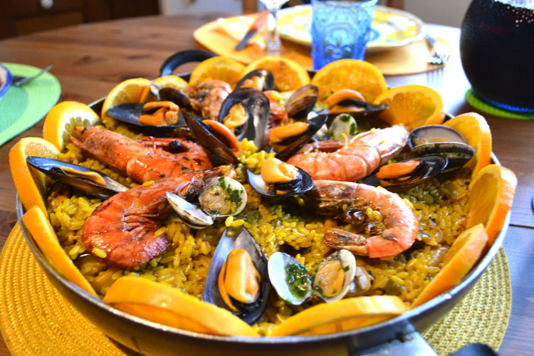 Paella Seafood Bowl Close-up Day Food Food And Drink Freshness Healthy Eating Healthy Food High Angle View Indoors  Lobster Mussel No People Plate Prawn Ready-to-eat Seafood Serving Size Shrimp Table