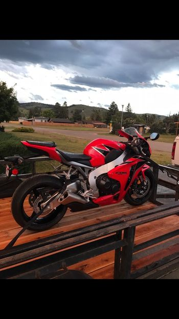 So excited to go for a first ride on my first streetbike!! 😝 Beautiful Midlife Crisis Transportation Cycle Twowheels Redandblack Motorcycle Sportbike Hondalife Hondacbr1000rr Transportation Mode Of Transportation Sky Cloud - Sky Land Vehicle Motorcycle Nature