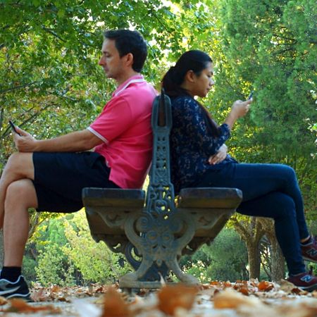 Two People Sitting Casual Clothing Adults Only Day People Togetherness Relaxation Autumn Park Benches