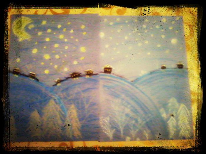 """Пастель... """"Зимняя деревушка""""..."""