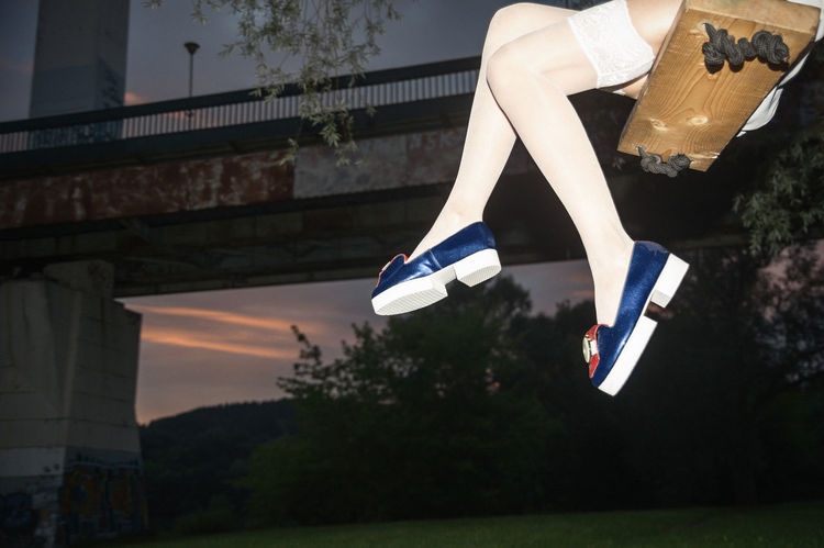 Alice, we're All mad Here Lady Linas Was Here Long Legs Avant-garde  Bridge Evening Female Platforms Shiny Shoes Shoes Fashion Summer Sunset Swings