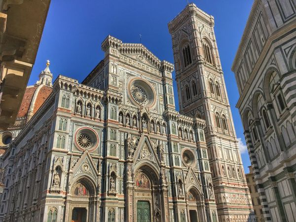 Arch Architecture Blue Building Exterior Built Structure Cathedral Church City Clear Sky Famous Place Firenze Florence Florence Italy History IPhone 6s IPhoneography Italy Low Angle View Place Of Worship Religion Spirituality Tower Travel Destinations Tuscany Window