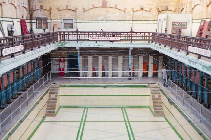 Swimming Pool Edwardian Tiles Architecture Indoors  Old Buildings Old-fashioned Historical Building at Victoria Baths Manchester