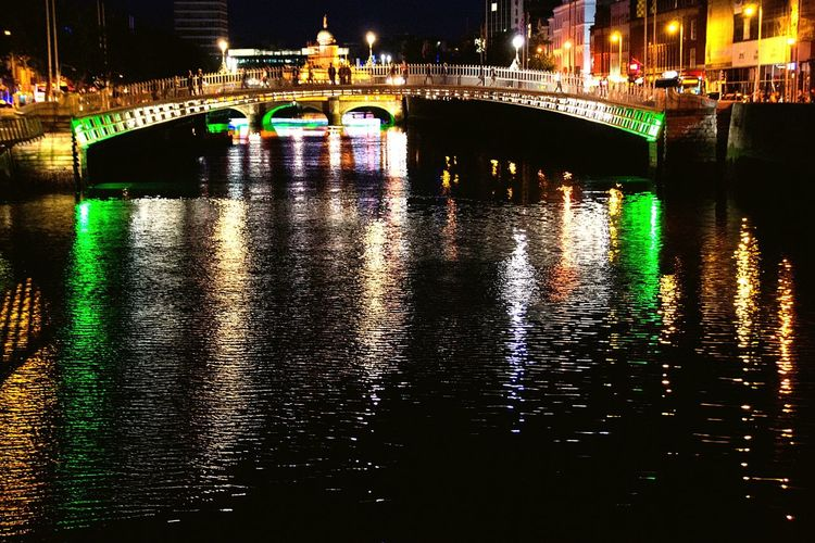 Battle Of The Cities Architecture Built Structure Connection Bridge - Man Made Structure Water Illuminated River Waterfront Building Exterior Night City Reflection Arch Canal Bridge Outdoors Multi Colored Electric Light No People Engineering Dublin Bridges Bridge View Overnight Success