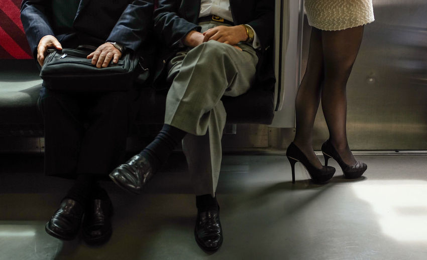 Business Casual Clothing Fashion Friendship Human Leg Japan Occupation Seats Sitting Tokyo Train Women Work Young Adult Young Women 山手線(JR Yamanote Line)