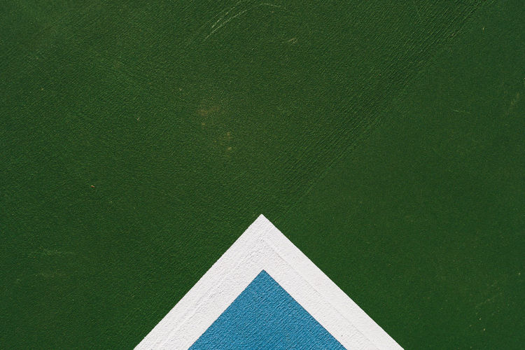 tennis court lines Architecture Blue Close-up Day Directly Above Green Background Green Color Lines And Angles Lines And Shapes No People Tennis Court Triangle Shape White Lines