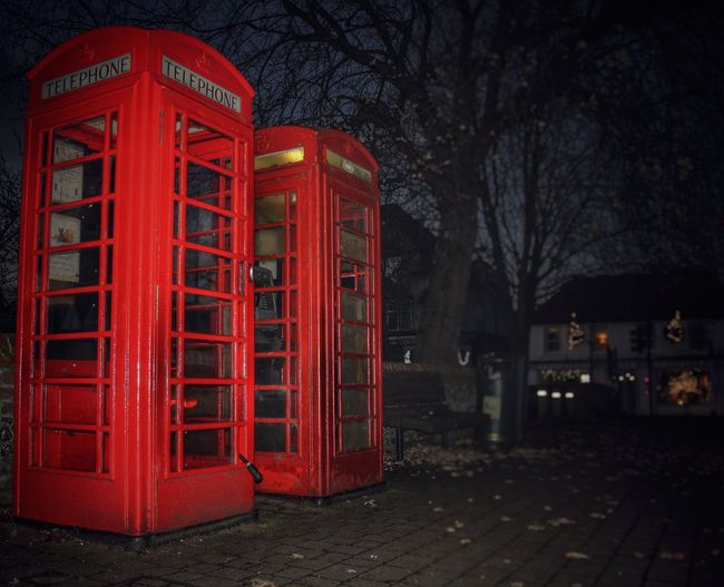 Double Two Boxes Beautiful Nice Dark Run Down Old Vintage Photographer Photography Pretty Phone Booth Phone Box Red London Box Communication Telephone Booth Night Telephone No People Outdoors City Architecture