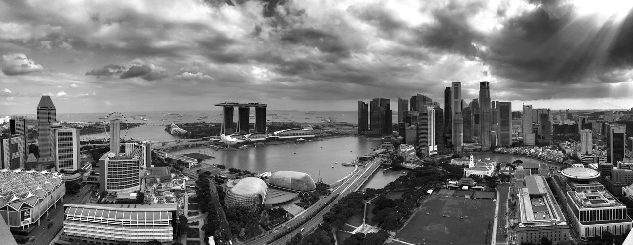 Singapore Sky And Clouds Marina Bay Sands Esplanade Singapore Flyer Padang Blackandwhite Black And White Panorama
