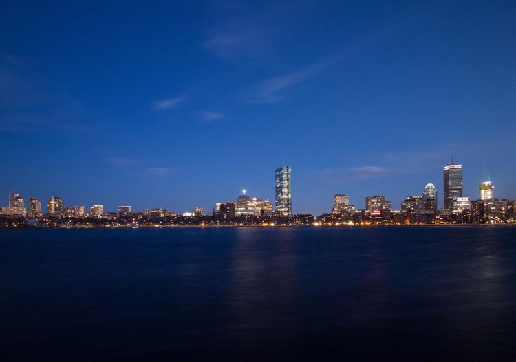 Boston Skyline Building Exterior Architecture Built Structure City Water Night Building