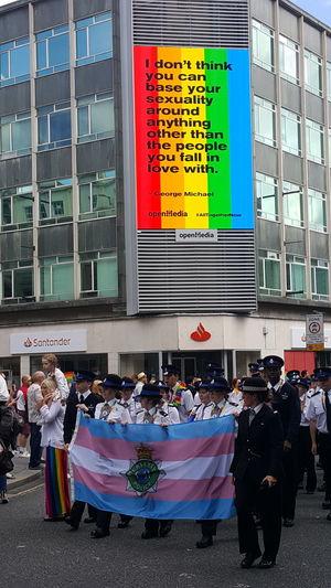 Liverpool pride 2018 Pride Parade 2018 Police Liverpool Liverpool Pride 2018 Love Is Love City Multi Colored Cityscape Crowd Parade Marching