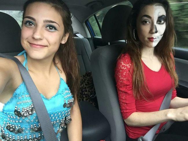 Happy Halloween 2015 Sisters Belly Dancer Skeleton Makeup Were Cute