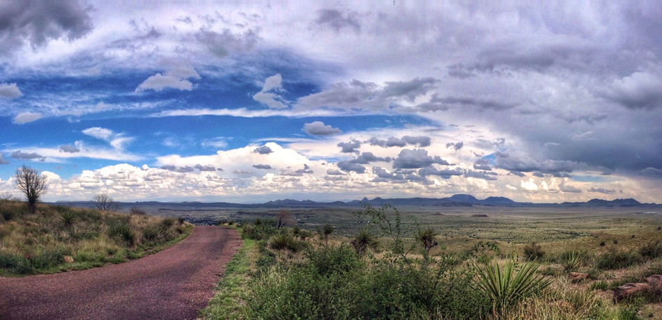 The road goes on forever... On The Road West Texas Dirt Road Panoramic Shot On IPhone Landscape Texas The Great Outdoors - 2016 EyeEm Awards No People Blue Sky Desert Lost In The Landscape