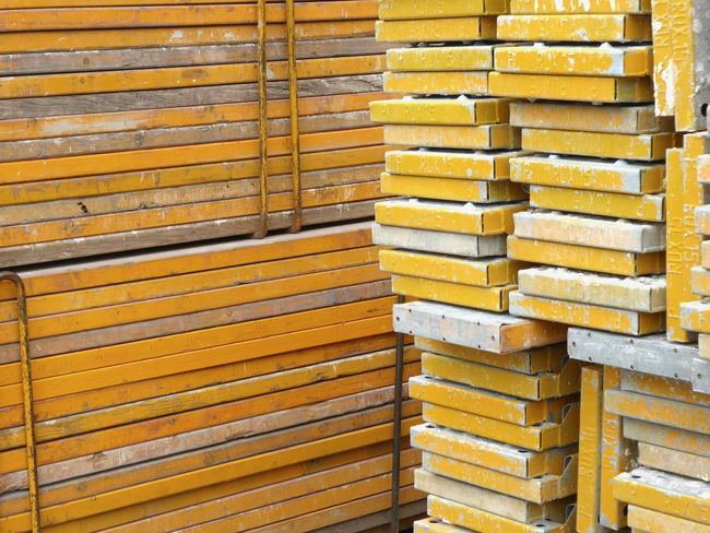 Paint The Town Yellow Backgrounds Building Site Close-up Full Frame In Berlin Germany No People Paint The Town Yellow Scafolding Planks Stack Wood - Material Yellow