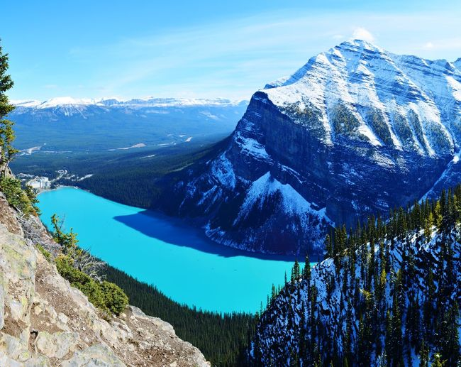 Lake Louise Wanderlust Hikingadventures Beauty In Nature Nature Canada Kanada Banff National Park  Lake Louise,Alberta Panoramic Photography Panorama Lake Fall Berge Yellow Blue Icefields Parkway Water Tree Mountain Blue Sea Sky Snowcapped Mountain Rocky Mountains Tranquil Scene Snow Covered Scenics Tranquility Rock Formation Geology
