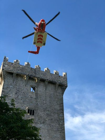 The Irish coast guard perform a rescue operation at Blarney Castle in Ireland Blarney Distress Rescue Emergency Blarney Castle Ireland Coast Guard Helicopter Castle