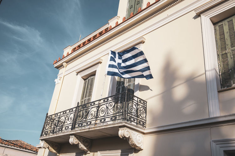 Athens Athens Greece Athens, Greece Acropolis Built Structure Architecture Building Exterior Low Angle View Sky Building Day Nature Flag No People Patriotism Window Cloud - Sky Outdoors Sunlight Balcony City