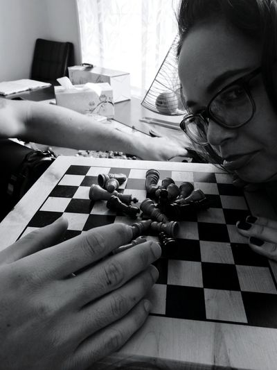 Indoors  Human Hand Human Body Part Women Day Eyeglasses  Real People Close-up Childhood Leica Daytime Aesthetic Macro Silhouette People Chess Leicacamera Indoors  Window Illuminated Finished Game Checkmate P9plus