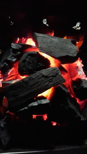 Close-up of fire pit at night