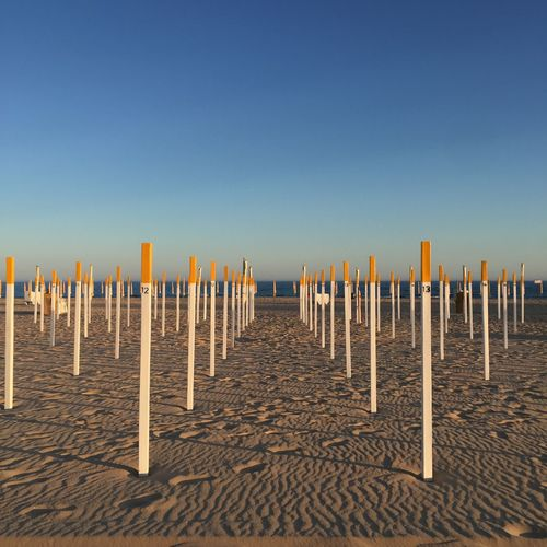 Beach Blue Coastline End Of Day Footsteps Horizon In A Row Nature Ocean Outdoors Perspective Perspective Photography Remote Repetition Sea Shadows Shore Sky Sunset Travel Destination Vacations Water Wood - Material Wooden Posts Yellow