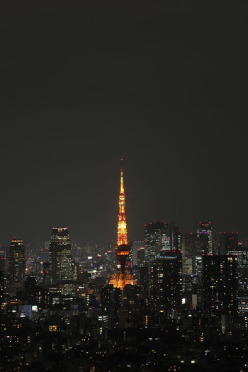 Architecture Built Structure Building Exterior Illuminated City Night Cityscape Tall - High Building Sky Skyscraper Tower Office Building Exterior Travel Destinations No People Modern Copy Space Nature Outdoors Spire  Financial District  Tokyo Tokyo Tower Tokyo Night