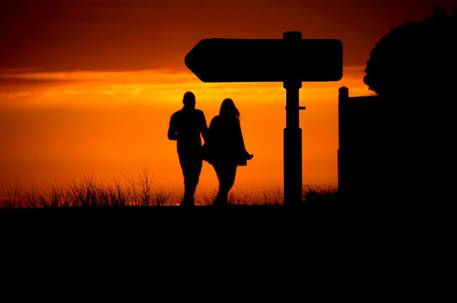 Adult Beauty In Nature Full Length Leisure Activity Lifestyles Men Nature Orange Color Outdoors People Real People Silhouette Sky Standing Sunset Togetherness Two People Women Paint The Town Yellow EyeEmNewHere The Week On EyeEm Done That.