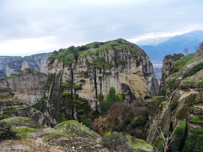 Meteora Greece Mountain Rock Rock - Object Beauty In Nature Solid Rock Formation Sky Nature Non-urban Scene Environment Scenics - Nature Cliff Mountain Range No People Geology Land Landscape Plant Day Tranquility Formation Outdoors Mountain Peak Eroded Height