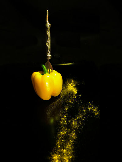 Curry Fork Paint The Town Yellow Black Background Freshness Studio Shot Sweet Pepper Yellow Yellow Peppers