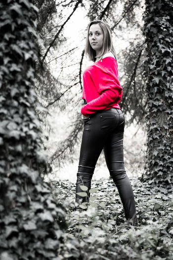 She is my love, my lady in red. Red Tree One Person Full Length Outdoors Nikkor 50mm F1.8 G Natural Reflector Forest Portrait Of A Woman Light And Refelction