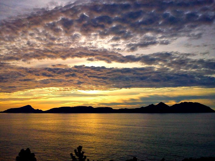 Beauty In Nature Water Scenics Tranquil Scene Sky Cloud - Sky Tranquility Nature Sunset Sea Reflection Idyllic No People Travel Destinations Vacations Nature Tranquility Landscape islas cies,Spain My Best Travel Photo