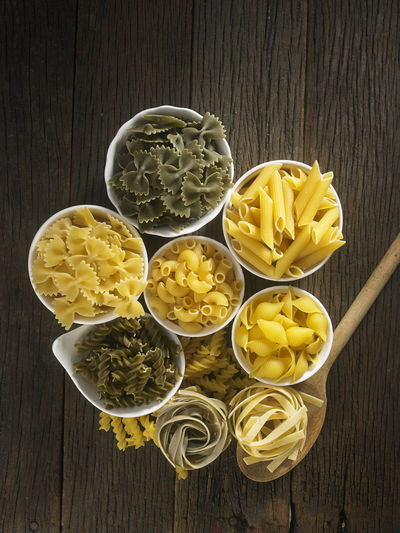 Close-up of various pasta in bowls on table