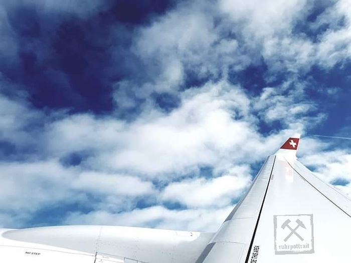 Wingshot Swiss by Ruhrpottrait Swiss Flyswiss Airplane Patriotism Flag Blue Wind Sky Cloud - Sky Aircraft Wing National Icon National Flag