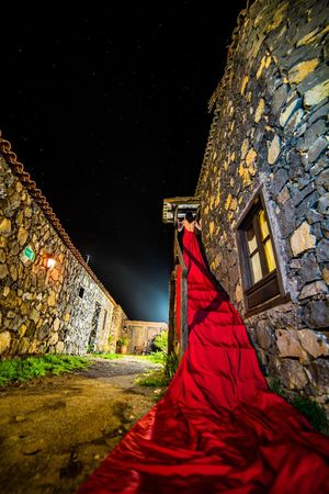 'Serenade' Dress Red Woman Night Star - Space Architecture Low Angle View No People Outdoors Astronomy Sky Illuminated Visual Creativity The Fashion Photographer - 2018 EyeEm Awards