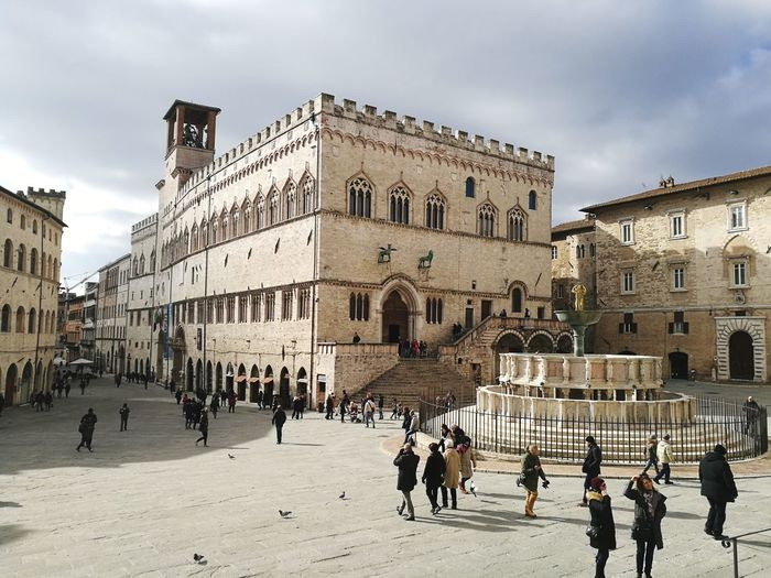 Perugia Architecture Built Structure Building Exterior History Façade Cloud - Sky Large Group Of People