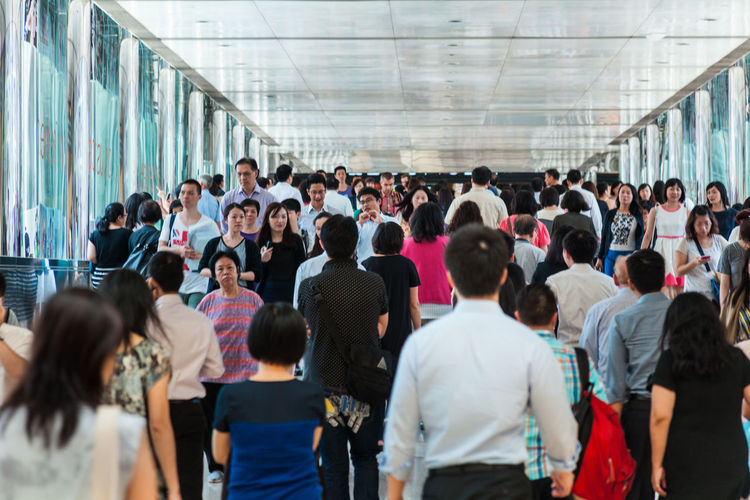 Group of people walking in bus
