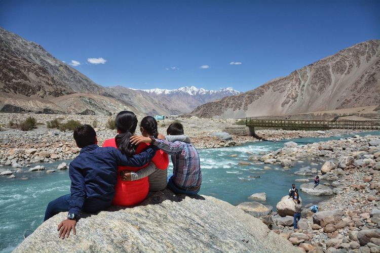 friends Himalayas Leh Ladakh.. India Tourism Nature Photography Nature Naturephotography Natural Natural Beauty Indus River Mountain Water Men Snow Sitting Togetherness Women Rock - Object Sky Snowcapped Mountain Rocky Mountains Mountain Range