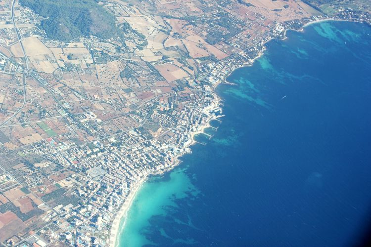 Aerial View From An Airplane Window Mallorca Mediterranean Sea Landscape Cityscape Less Edit Juxt Photography