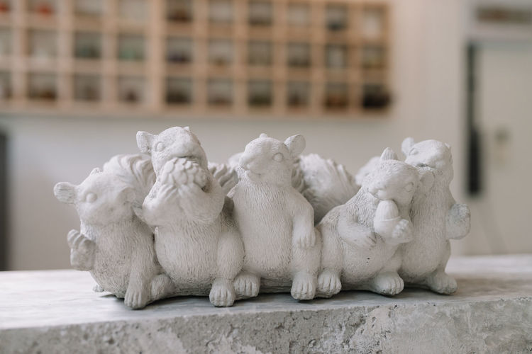 A white statue of a group of squirrel Animal Themes Close-up Decoration Group Of Animals Sculpture Squirrel Statue White Sculpture White Statues