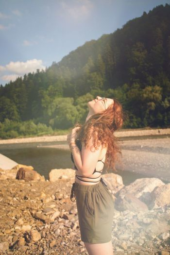Redhead loving the sun