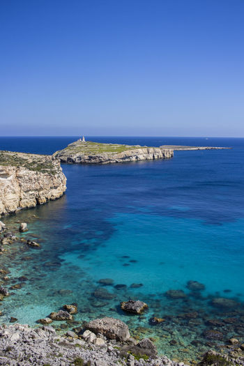 Malta Beach Beauty In Nature Blue Clear Sky Day Horizon Over Water Island Islandlife Landscape Maltaphotography Nature No People Outdoors Rock - Object Saint Paul's Island Scenics Sea Sky Tranquil Scene Tranquility Travel Destinations Turquoise Water