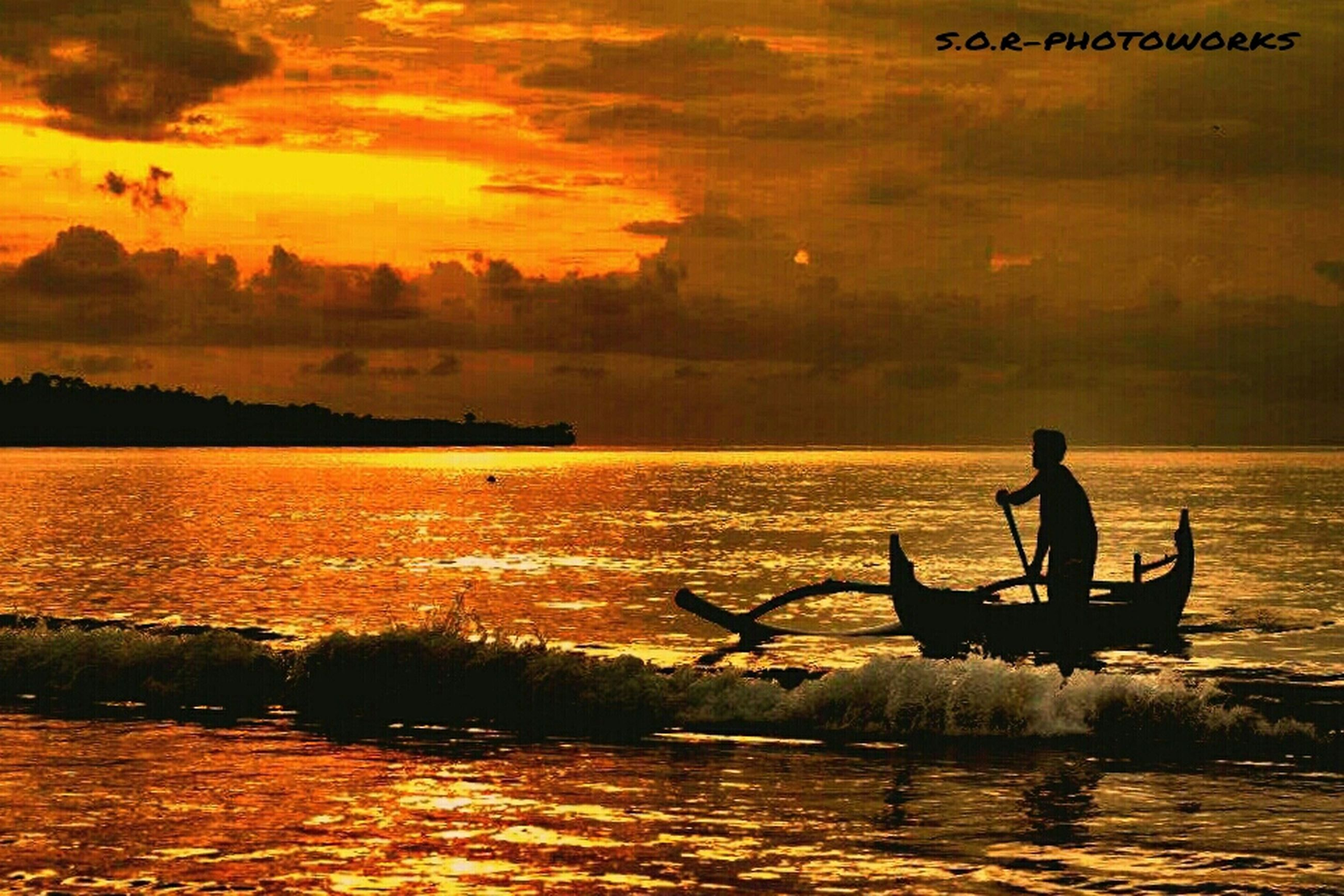 sunset, water, silhouette, transportation, nautical vessel, sky, mode of transport, boat, men, leisure activity, lifestyles, sea, beauty in nature, sitting, waterfront, scenics, orange color, tranquility
